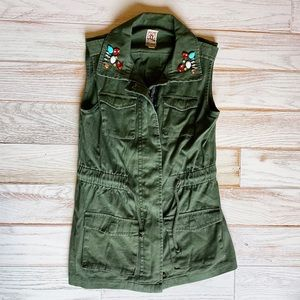 Army green utility vest with jewel accents